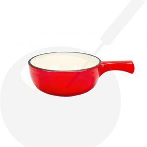 Fonduepan rood/wit - 13,5 cm Ø