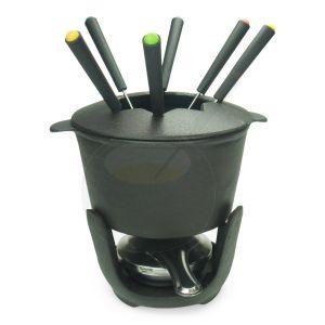 Zwarte Fondueset Gietijzer - 1 liter