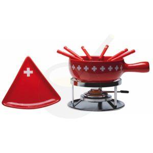 Kaasfondueset Swiss Cross met driehoek borden