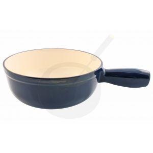 Fonduepan blauw gietijzeren/geëmailleerde kaasfonduepan.