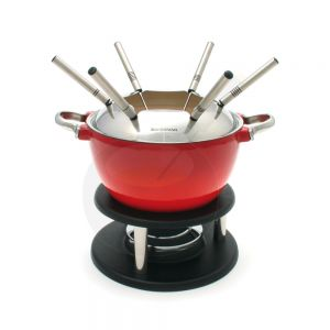 Swissmar Noirmont 10 PC Cast Iron Fondue Set Rood